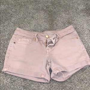 Mid-Rise Midi Peach Colored Denim Shorts